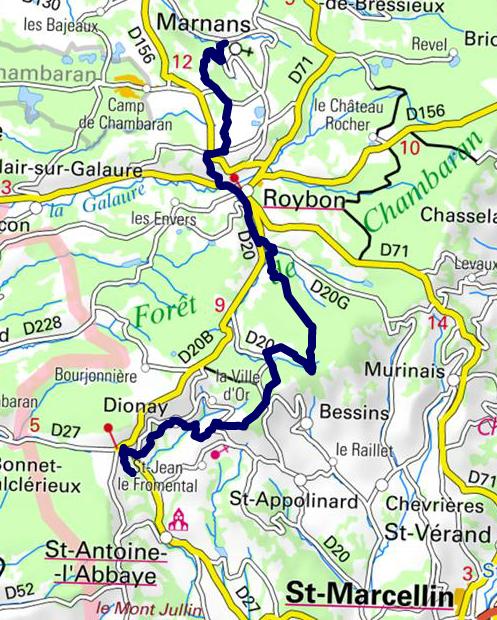 tracé Marnans St Antoine