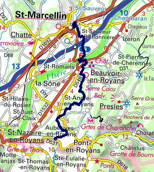 Tracé St Marcellin - Auberives