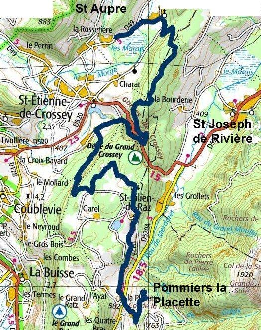tracé St Aupre-La Placette